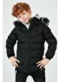 Lela Lela Suni Kürklü Peluş Astarlı Çıkarılabilir Kapüşonlu Mont Erkek Çocuk   Siyah